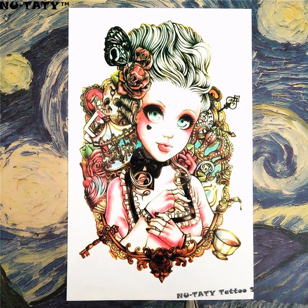 Nu-TATY Blonde Lolita Flash Temporary Tattoo Body Art Sleeve Arm Flash Tattoo Stickers 12*20cm Waterproof Tatto Henna Fake
