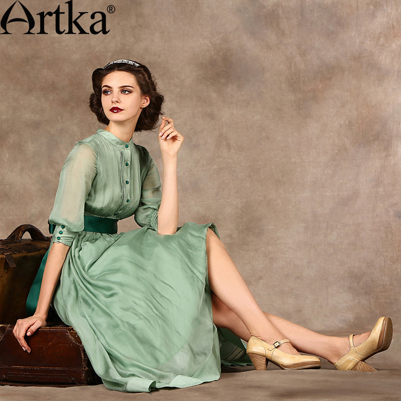 Artka Women's Classic Silk Dresses Cool Summer Elegant Woman ...