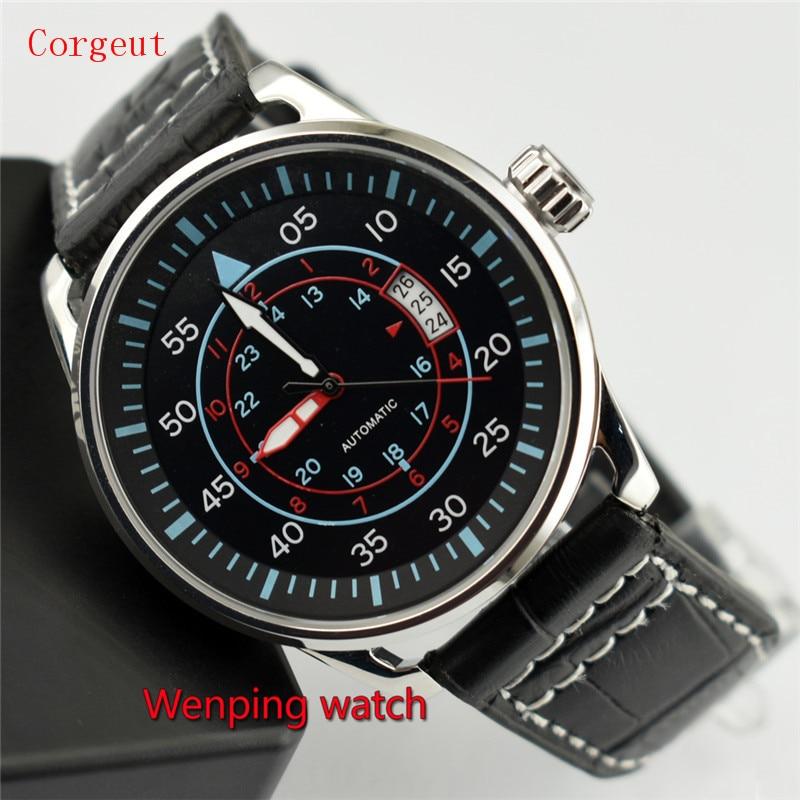 Corgeut 44mm Black Dial Steel Case Automatic Movement Men Date Watch W2206