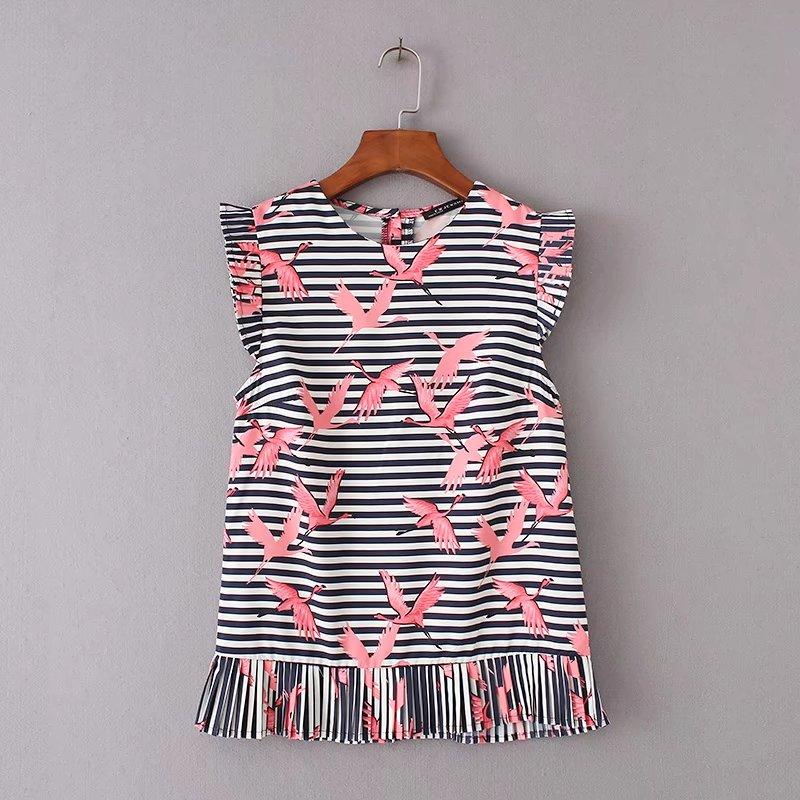 HTB1Lw46RVXXXXXJXVXXq6xXFXXXg - Women vintage vestidos striped crane printed pleated blouses shirt