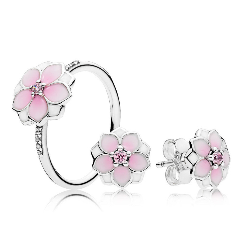 все цены на Pandulaso Magnolia Bloom Pink CZ Crystal Silver Rings & Stud Earrings Jewelry Sets for Women Fashion Silver 925 Jewelry Gift Set онлайн