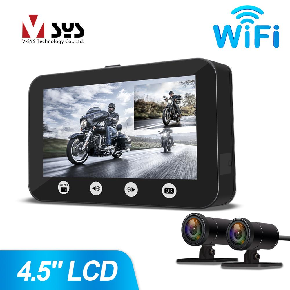SYS VSYS P4.5 WiFi Dual Full HD 1080P Motorcycle Dash Camera DVR System 4.5'' LCD Full Body Waterproof Front & Rear View Lens