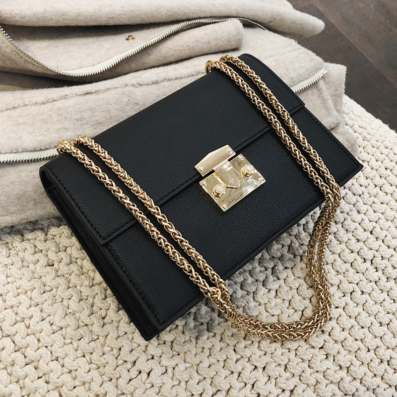 Elegant Female Small Square Bag 2019 Fashion New Quality PU Leather Women's Designer Handbag Lock Chain Shoulder Messenger Bags