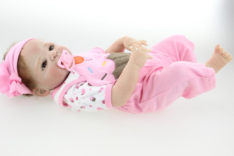 23in silicone reborn baby dolls 57cm reborn babies girl doll vinyl doll toddler Full Silicone Reborn baby Doll toys for children цена