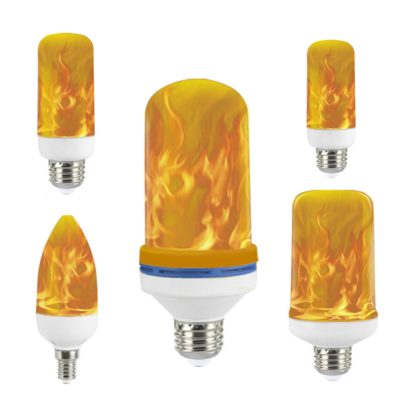 Golspark E12 LED Flame Effect Light Bulb,3W Flickering Fire Bulbs,2 Modes Decorative Candelabra Bulbs for Halloween,Christmas,Party,Chandelier Decoration,2 Pack