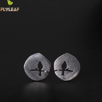 Flyleaf 100% 925 Sterling Silver Matte Tree Branch Bird Stud Earrings For Women Creative Lady Fashion Jewelry