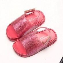 Mini Melissa 2019 Girls Boys Sandals Childrens Shoes mini melissa Cartoon Glitter sequins Princess Jelly soft sandalias