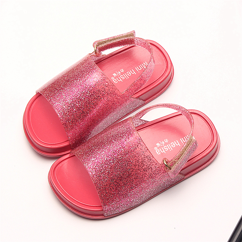 Mini Melissa 2018 Girls Boys Sandals Childrens Shoes mini melissa Cartoon Glitter sequins Princess Shoes Jelly soft sandalias