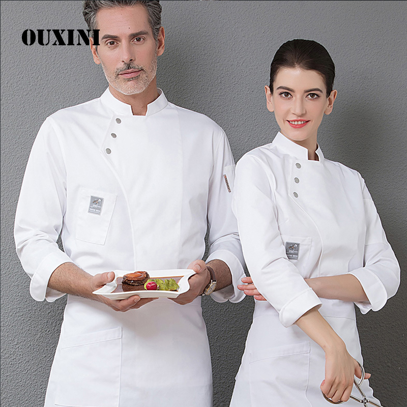 Women And Men Kitchen Restaurant Cook Workwear Chef Uniform White Shirt Double Breasted Chef Jacket