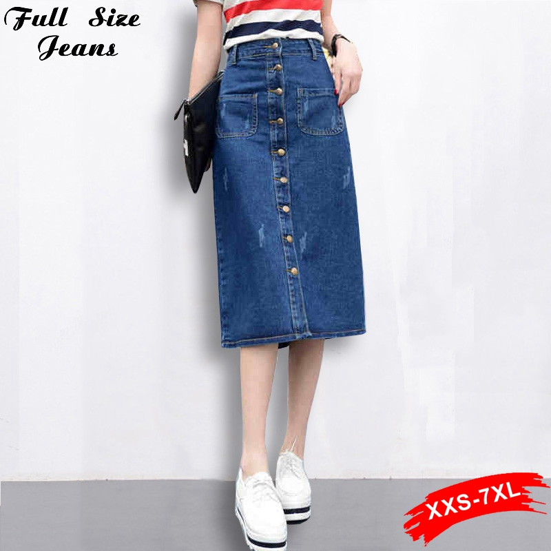 Long Denim Skirts Plus Size - Skirts