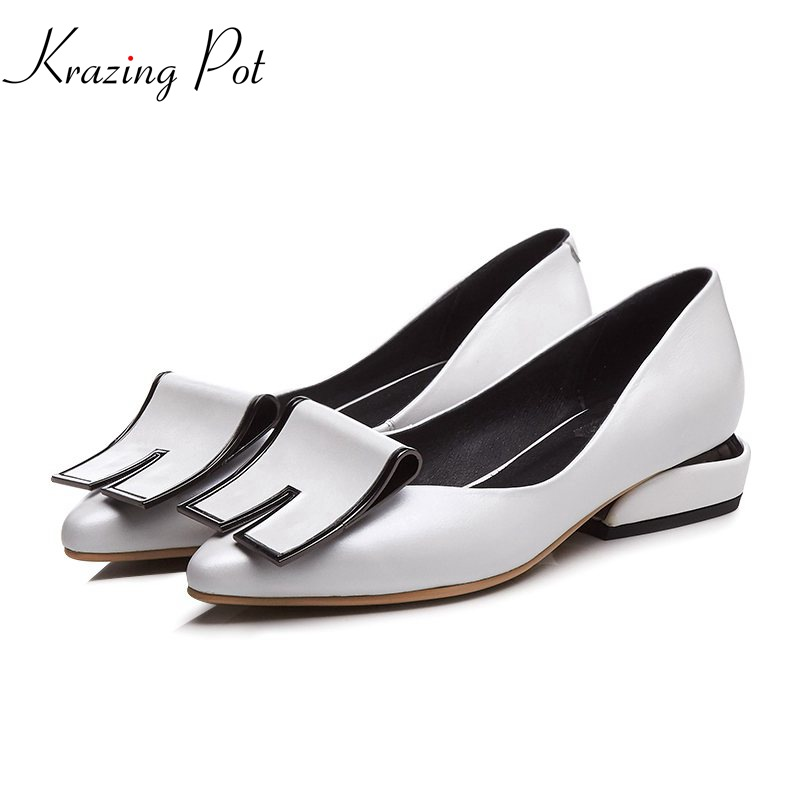 Krazing pot 2018 new arrival Spring Summer cow leather square low heels pointed toe shallow tassel office lady party pumps L1f2