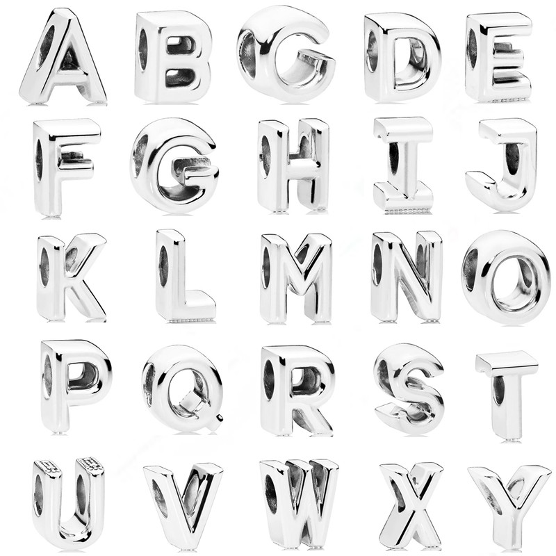 Couqcy Simple Personality 26 Letter Beads Creative Combination Suitable For DIY Pandora Bracelet Jewelry European Charm