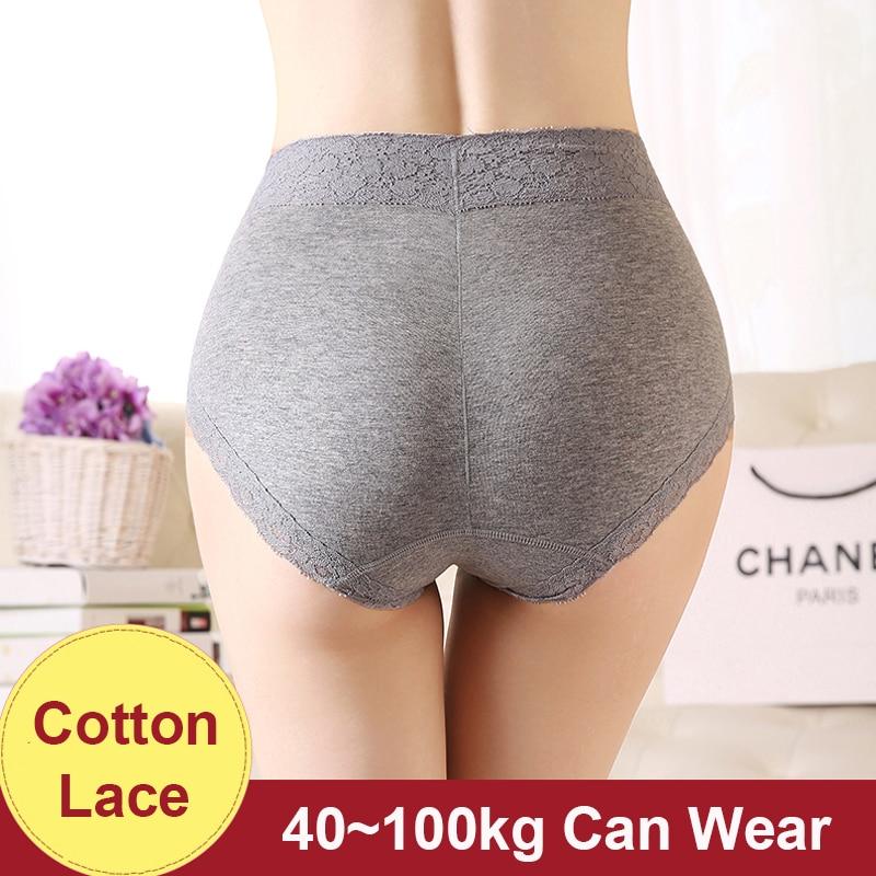 Cotton   Panties   Women Underwear Sexy Lace High Waist   Panties   Plus Size Female Lingerie Underpants Koronka Majtki Big Briefs