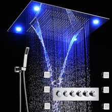 5 Functions LED Shower Faucets Set Concealed Ceiling 600x800 mm Large Showerhead Rainfall Waterfall Top Shower Body Jets Massage hm 20 led shower head rainfall thermostatic shower set 6 massage body jets panel embedded ceiling 3 ways concealed
