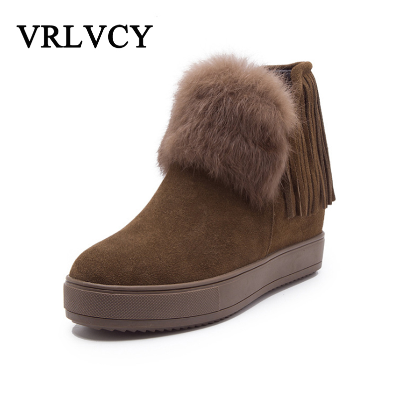 Women's boots new leather heightening boots tassel boots thick bottom rabbit fur snow boots female short tube plus velvet shimano deore xt m8000 hydraulic brake set front and rear for mtb mountain bike bicycle