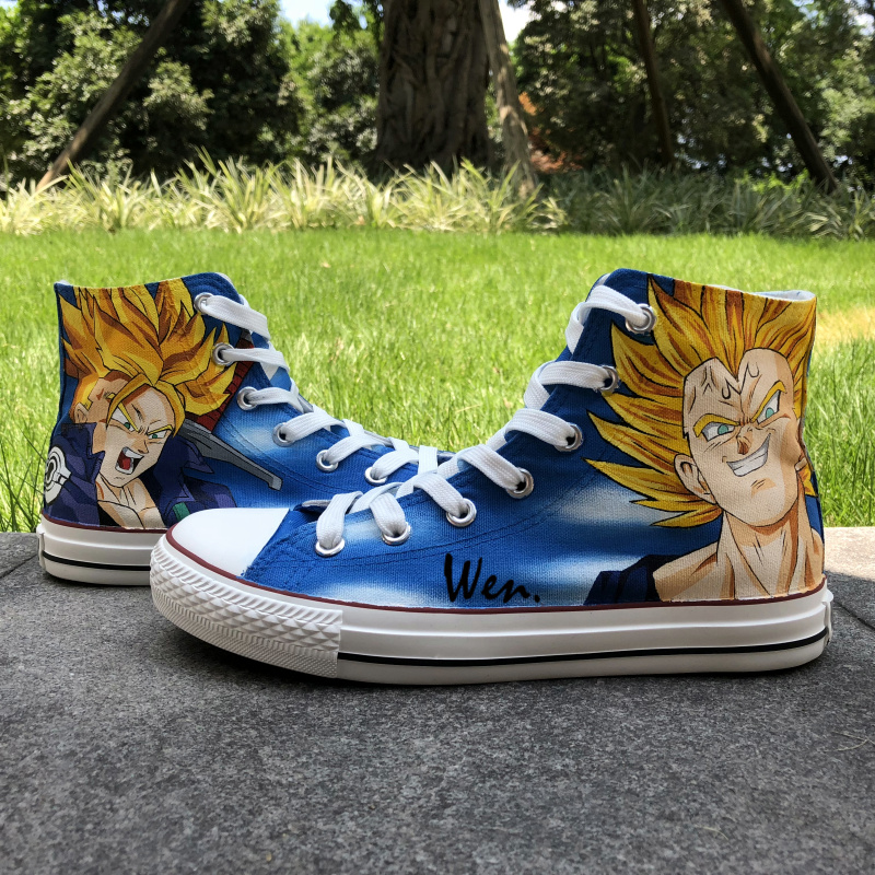 Wen Anime Design Custom Hand Painted Shoes Dragon Ball Majin Vegeta Trunks High  Top Men Women s Canvas Sneakers a33ef50afb1a