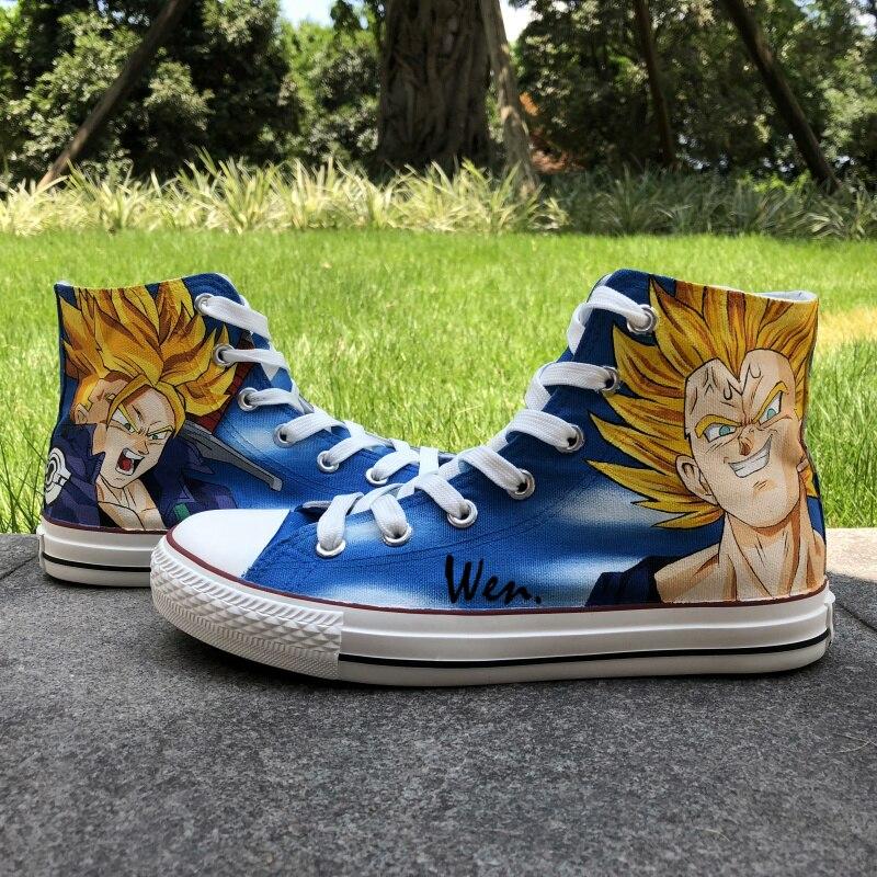 US $60.8 20% OFF|Wen Anime projektowanie niestandardowych ręcznie malowane buty Dragon Ball Majin Vegeta pnie wysoka góra mężczyźni damska płócienne