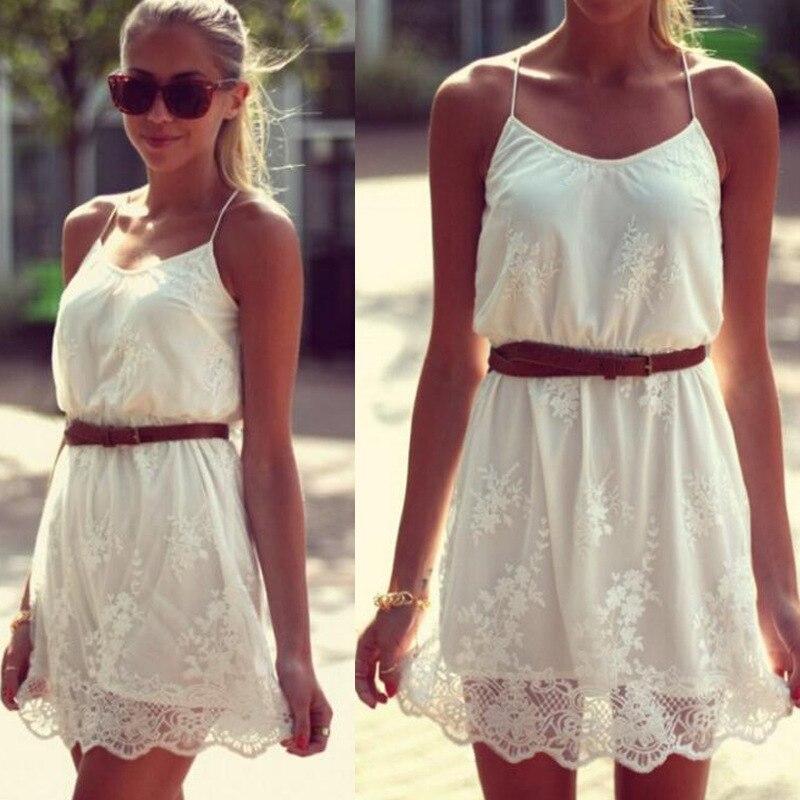 Sexy Mousse 2016 Vasaras Jauns Vestidos Sieviešu bezpiedurkņu ziedu kleita Sieviešu apģērbu balta kleita
