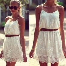купить 2016 Summer New Vestidos Women Sleeveless Floral Dress Femininas Clothing White Dress  по цене 982.83 рублей