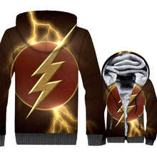 3D Print Lightning Thick Hoodies Men 2018 Fashion Zipper Mens Jackets Streetwear Coat Male The Flash Anime Jacket And Tops