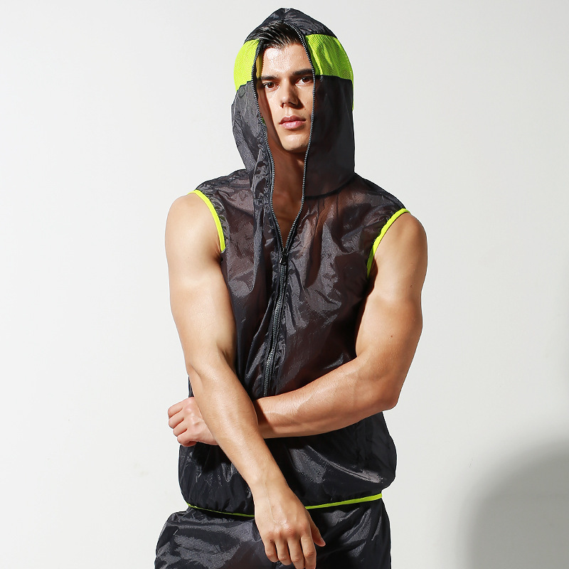 Súper fino sin mangas Rash Guard hombres Rashguard vels Surf Suit medio transparente protección UV camisa agua deporte chaleco chaqueta con capucha