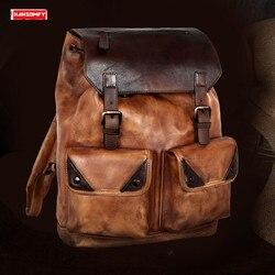 New first layer cowhide Men backpacks large capacity computer shoulder bag retro real genuine leather travel men's backpack