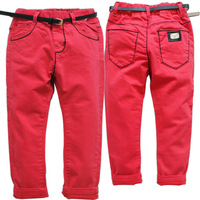 6386 Red Boys Pants Casual Girls Trousers Denim Jeans Spring Autumn Fashion Washing Not Fade Kids
