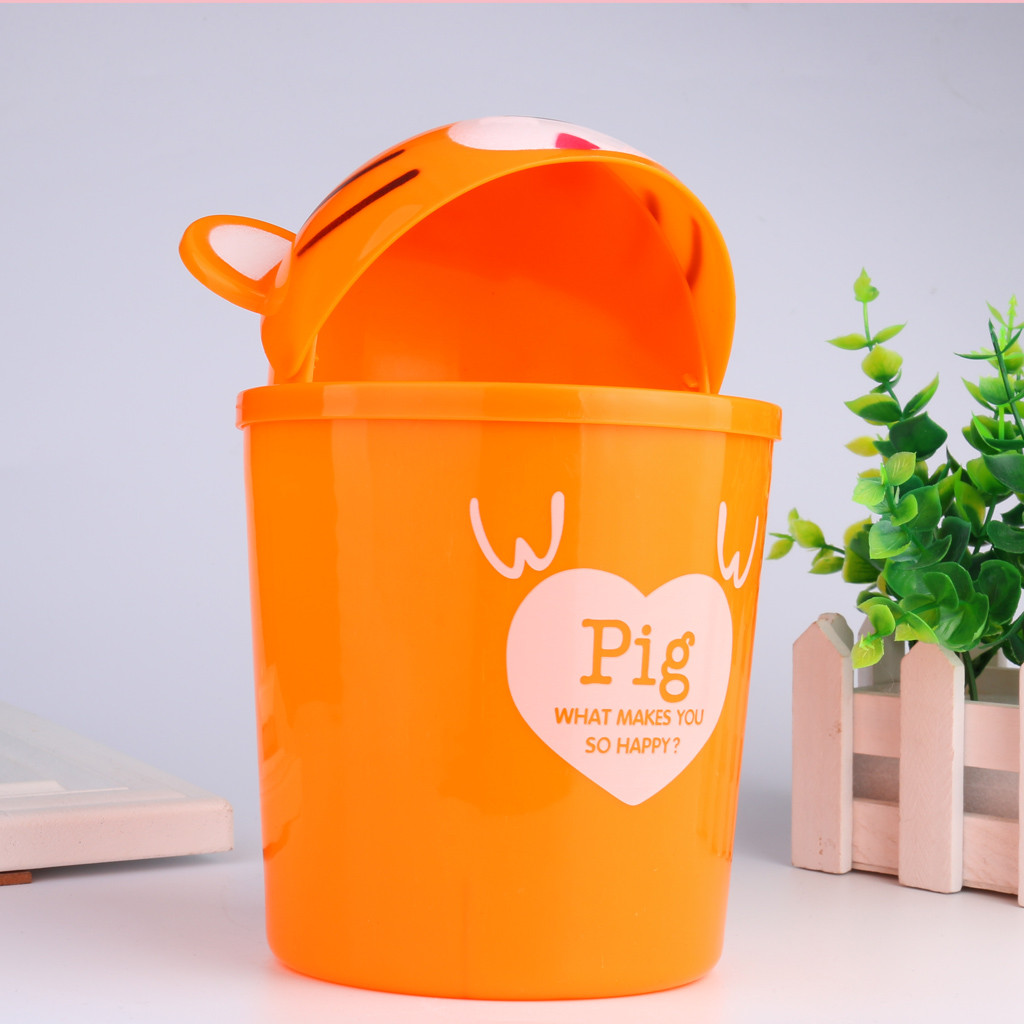 Cute Trumpet Desktops Mini Creative Covered Kitchen Livingroom Trash Can