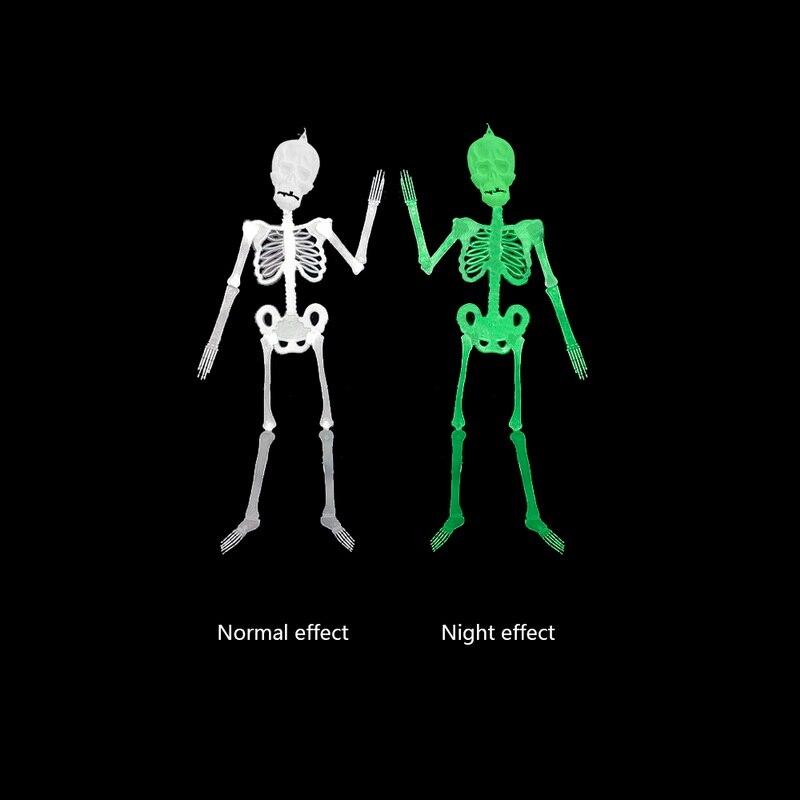 Urijk 1PC Halloween Luminous Skeleton Pendant Decoration Horror Ghost Noctilucent Skeleton Bar KTV Scene Party Supplies