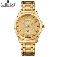 למעלה איכות שעון מותג יוקרה גברים CHENXI אופנה זהב נירוסטה קוורץ-זהב שעונים גברים שעון יד שעונים סיטונאי