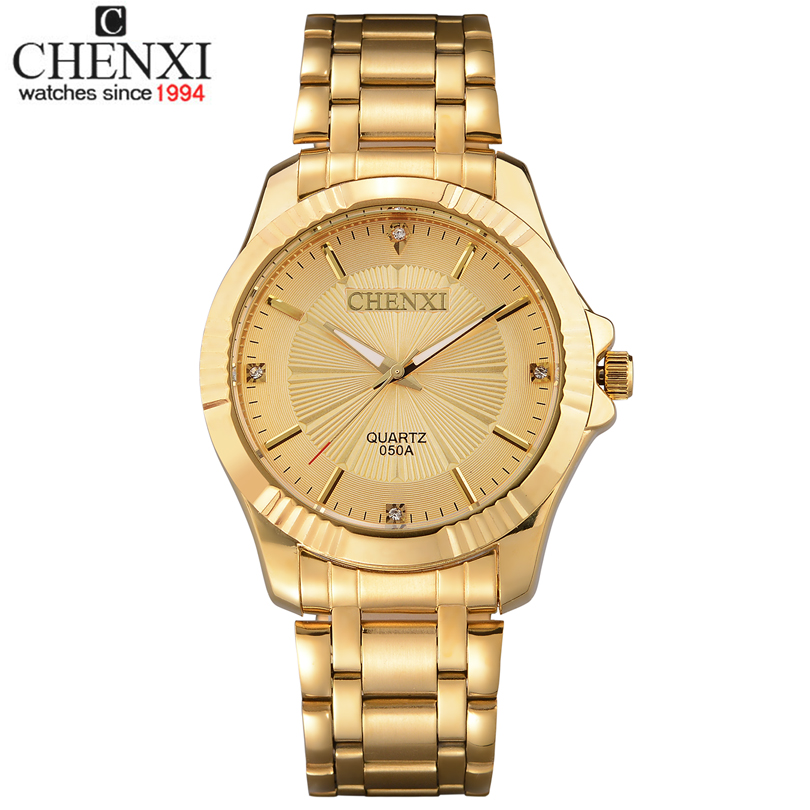 Top Quality Clock Fashion Men Luxury CHENXI Brand Gold Stainless Steel font b Quartz b font