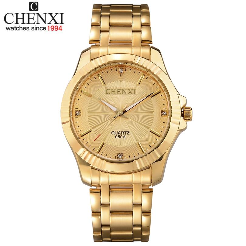 Top Quality Clock Fashion font b Men b font Luxury CHENXI Brand Gold Stainless Steel Quartz