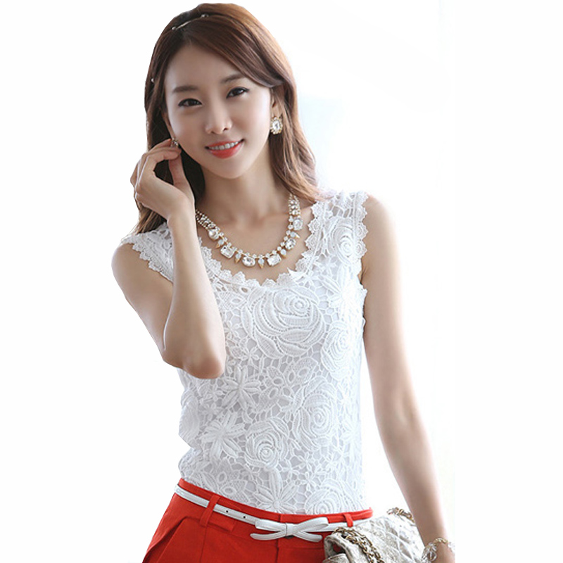 Embroidery Lady White Lace Tank Tops Plus Size S-3XL Black Cotton Tees 2017 Cool Summer Women Fashion Sleeveless Wear