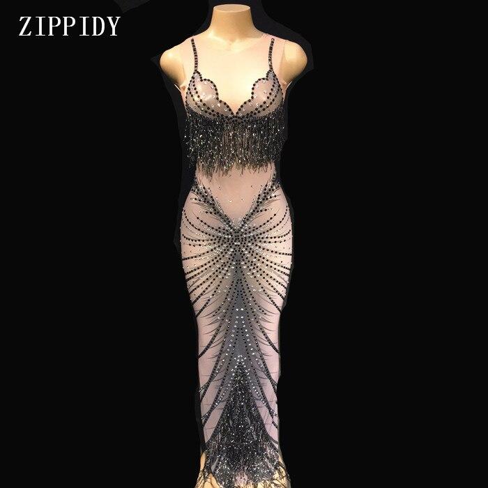 Black Rhinestone Mesh Perspective Sleeveless Dress Evening Party Wear Dresses Birthday Celebrate Costume See Through Dress