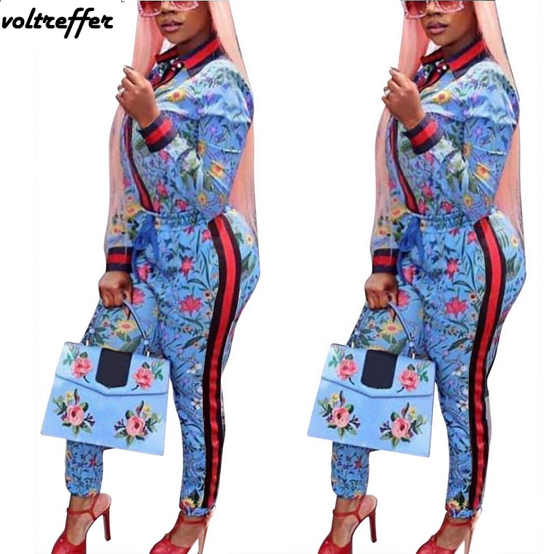 2018 Spring Blue Flower Floral Print Two Piece Tracksuit For Women Cardigan Pants Suits  ...