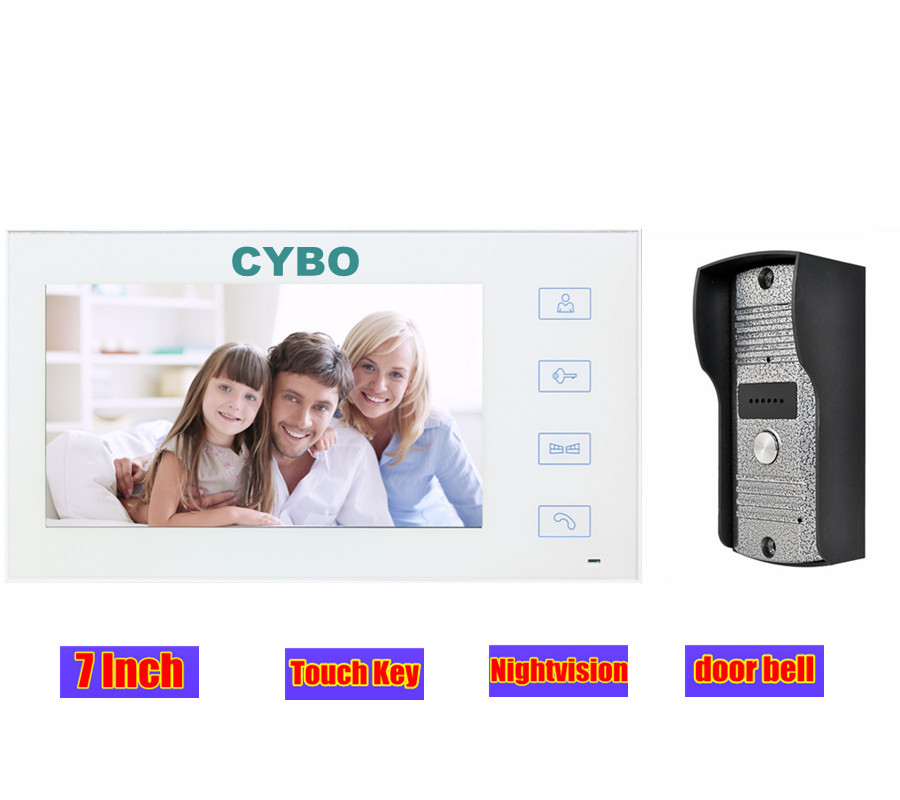 7inch Wired Touch Video Door bell Phone Intercom Doorbell monitor home security system Night Vision IR doorphone 700tvl Camera home color video doorphone 7 inch lcd monitor 1 to 2 video door phone ir night vision camera video doorbell intercom system