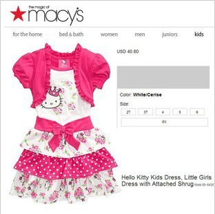 2013 New 1PC Hello Kitty Dress girls dress pink dress baby dress kids clothes children wear baby clothing 2T-6X