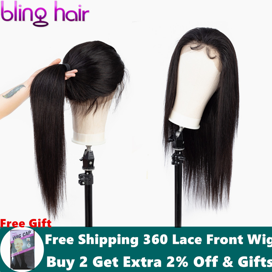 Bling Hair Brazilian Wig 360 Lace Frontal Wigs Straight Hair Lace Front Human Hair Wigs Pre