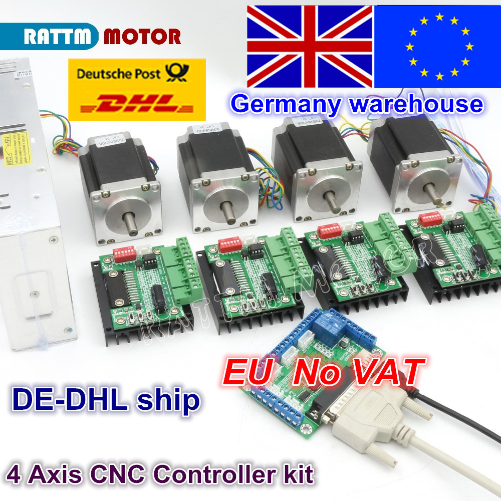 4 Axis CNC Router Kit! 4pcs 1 axis TB6560 driver & interface board & 4pcs Nema23 270 Oz-in stepper motor & 350W Power supply new high quality cnc 3 axis tb6560 stepper motor driver board control pad lcd set hy tb3 kh