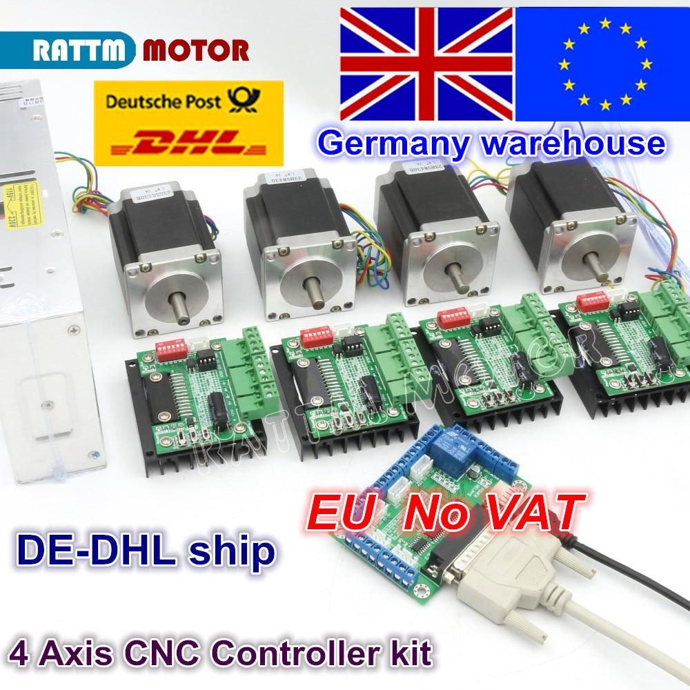 4 Axis CNC Router Kit! 4pcs 1 axis TB6560 driver & interface board & 4pcs Nema23 270 Oz-in stepper motor & 350W Power supply цена