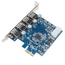 PCI Express для SuperSpeed USB 3.0 4 Порта Адаптер для Настольных Компьютеров с 5 В 4 Контактный Разъем Питания