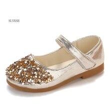 SLYXSH 2019 Autumn new girls school shoes flat rhinestone princess outdoor kids wedding shoes soft pu leather shoes