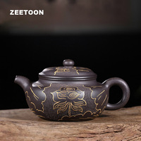 225cc Authentic Yixing Teapot Chinese Health Purple Clay Lotus Antique Pot Master Handmade Creative Zisha Vintage Fanggu Tea Pot