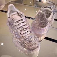 Лидер продаж, роскошные брендовые стильные кроссовки на платформе для женщин, женские кроссовки на шнуровке с украшением в виде кристаллов,