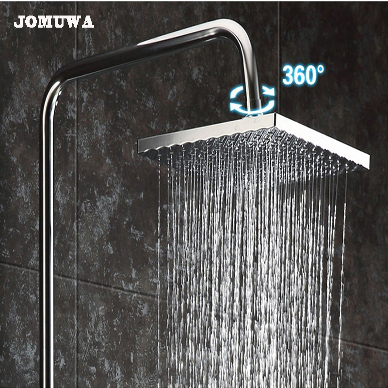 Us 12 47 22 Off 8 10 Inch Square Waterfall Shower Heads Wall Mounted Rainfall Shower Head Single Head 360 Degree Rotating Free Shipping In Shower