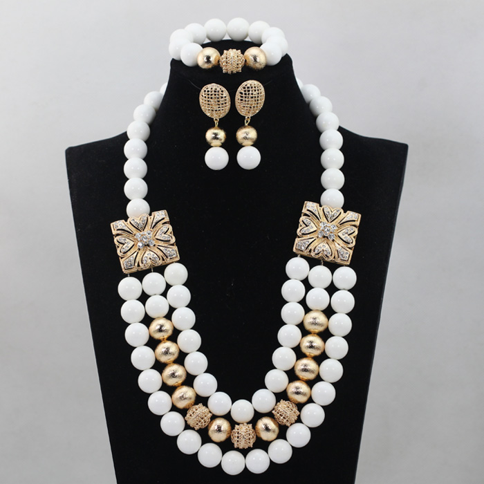 Gorgeous White African Coral Beads Jewelry Set Nigerian Wedding Necklace Earrings Set Gift Free Shipping QW142 цена и фото