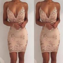 2019 Summer Mini Dress Womens Sexy Gold Sequin Dress Champagne Twinkle Sequin Overlay Dress Glitter Party Dress WF778(China)