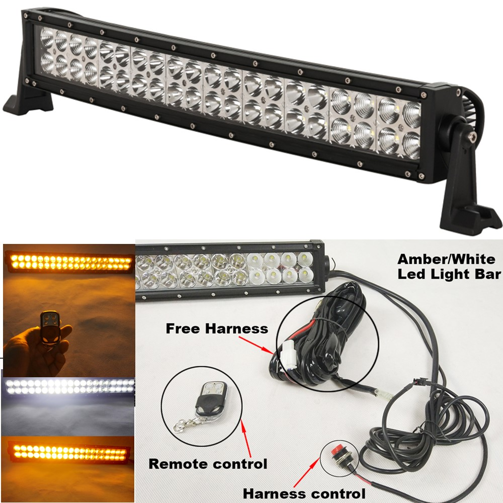 "120w 20"" Amber White Led Strobe Work Driving Light Bar With Remote Controller For Car Truck Suv 4x4 Atv Offroad Lights 22 Inch Colours Are Striking"