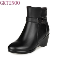 Newest Keep Warm Women Winter Boots High Quality Genuine Leather Wear Resisting Casual Shoes Wedges Fahsion Women's Boots
