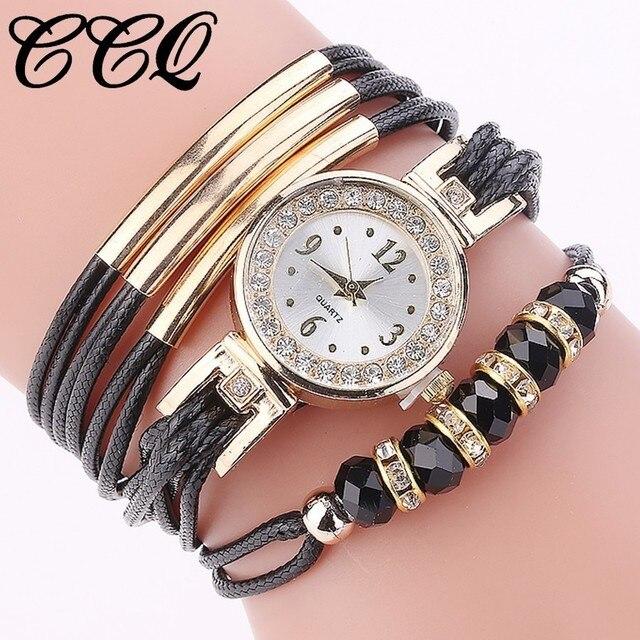 18cf4ad8d5c Venda quente Mulheres Relógio de Strass Moda Senhoras Casuais Pulseira de  Couro relógios de Pulso de